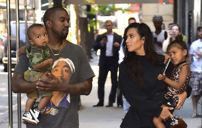 Kim Kardashian, Kanye West with North West and Saint West are spotted in the Upper East Side on August 29, 2016 in New York City.