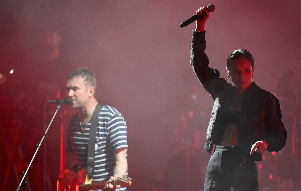 Damon Albarn and Savages' Jehnny Beth performing with Gorillaz