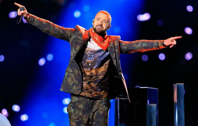 Justin Timberlake performing at the Super Bowl 2018