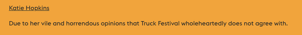 Katie Hopkins has been banned from Truck Festival