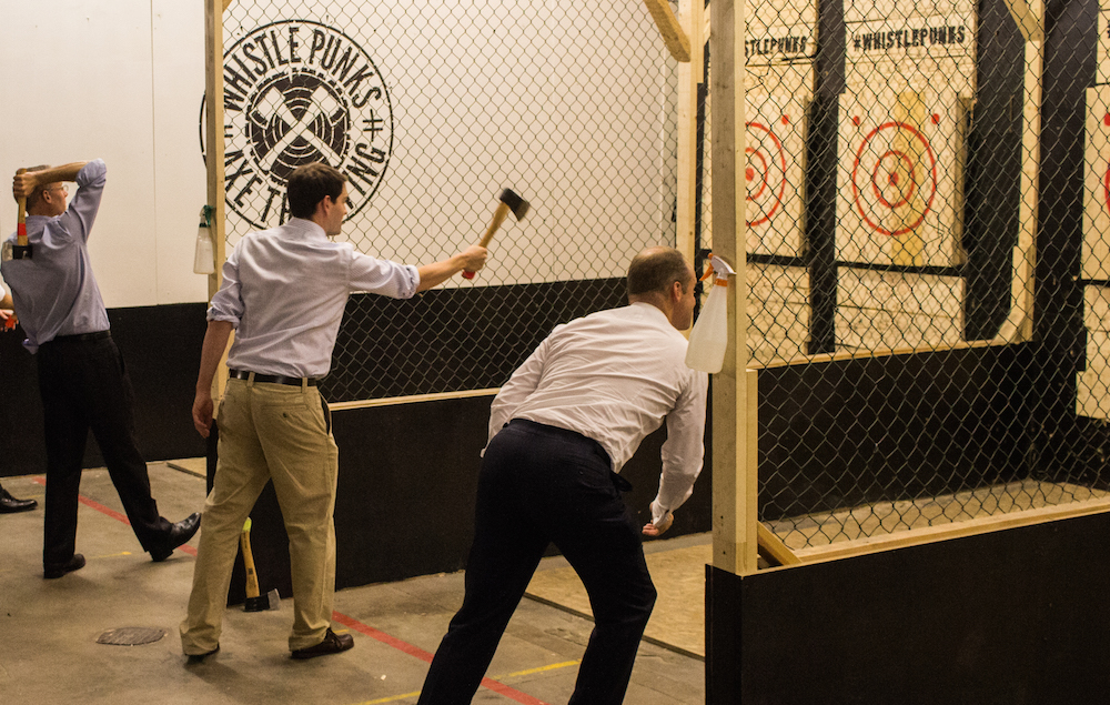 Whistle Punks axe throwing - shot of people involved
