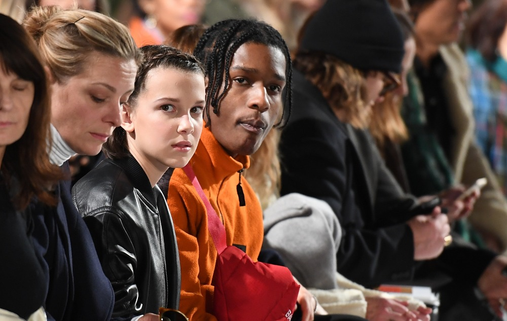 Millie Bobby Brown Candid Films Asap Rocky At Fashion Week
