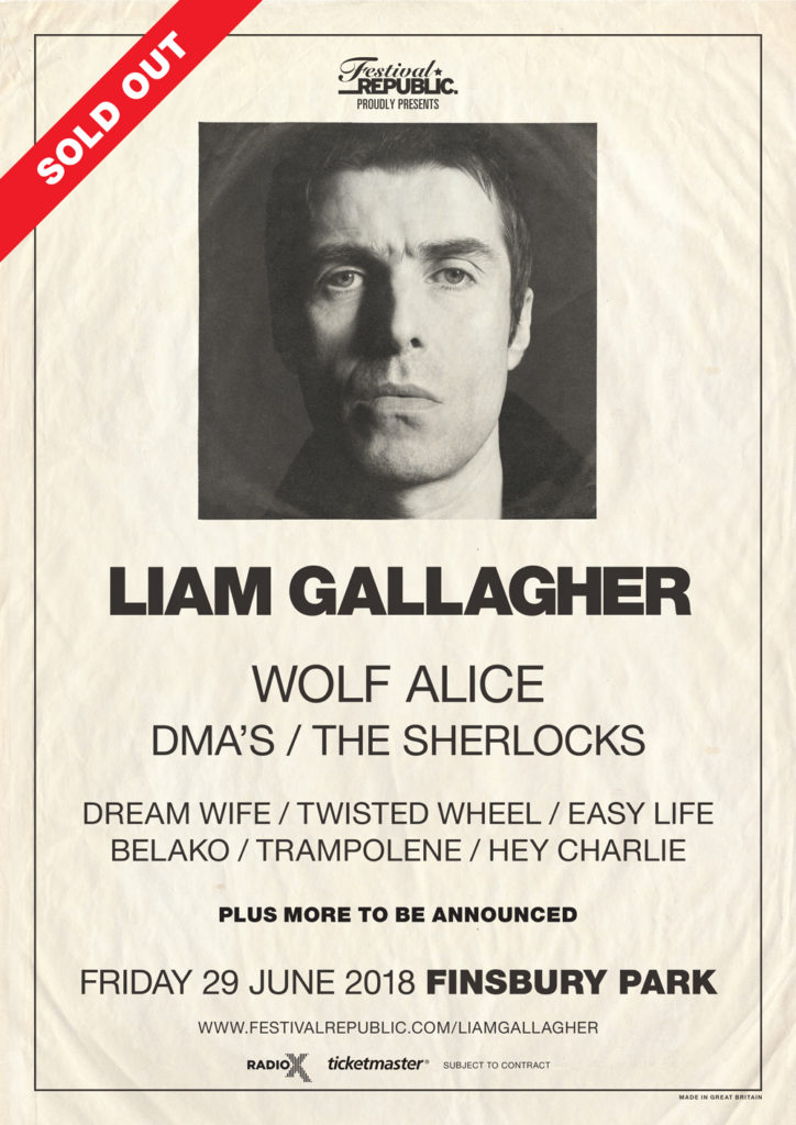 The line-up for Liam Gallagher's London Finsbury Park show