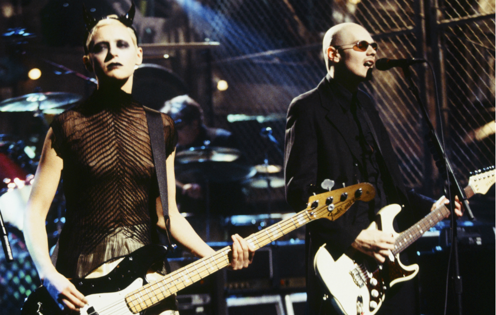 D'Arcy Wretsky and Billy Corgan with Smashing Pumpkins on SNL