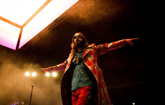 Jared Leto of the american rock band Thirty Seconds To Mars performing live at Unipol Arena in Bologna Italy.
