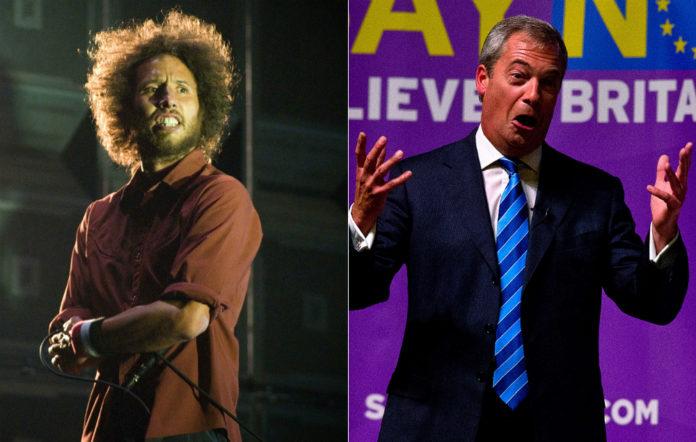 Rage Against The Machine's Zach De La Rocha and Nigel Farage