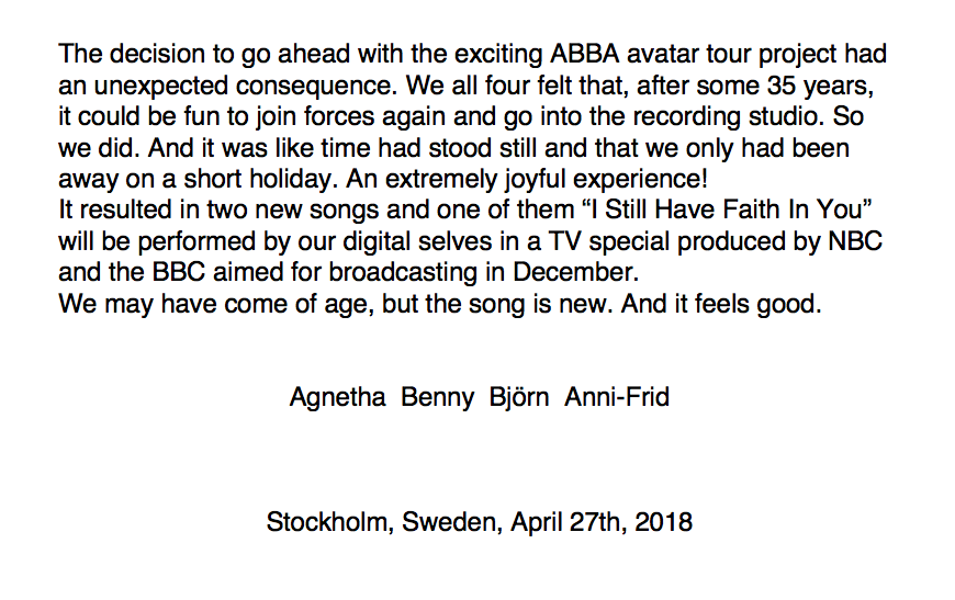 A new press release from Abba confirms the release of new material