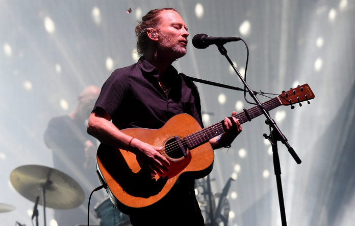 Thom Yorke performing live with Radiohead