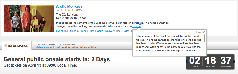 Arctic Monkeys ticket rules