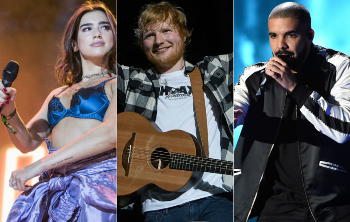 Dua Lipa, Ed Sheeran and Drake