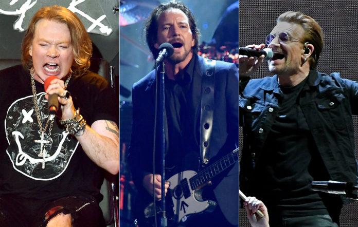 Axl Rose, Eddie Vedder and Bono