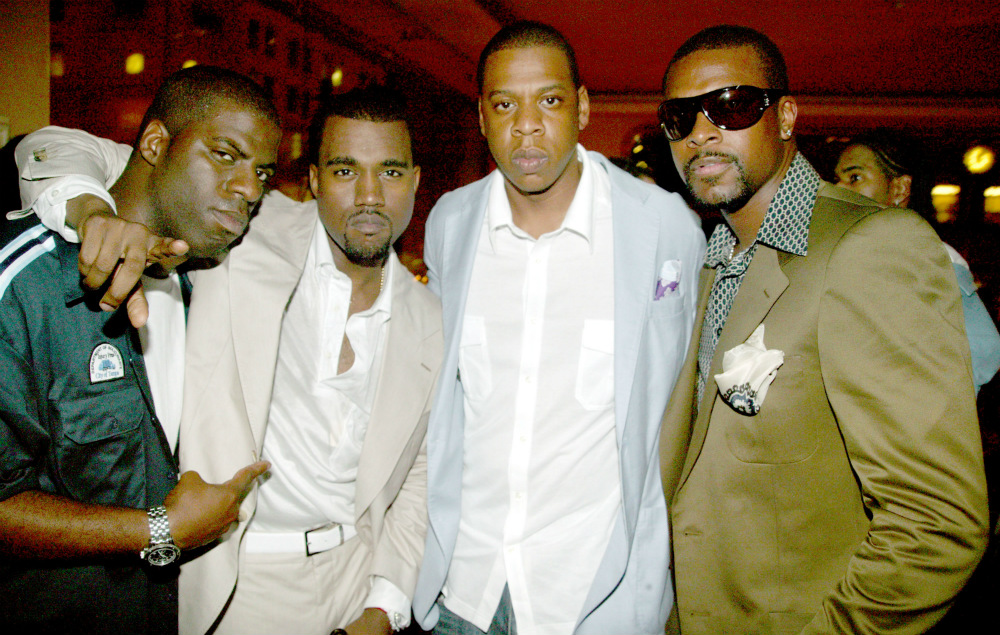 Rhymefest, Kanye West, Jay-Z and Chris Tucker, pictured in 2005
