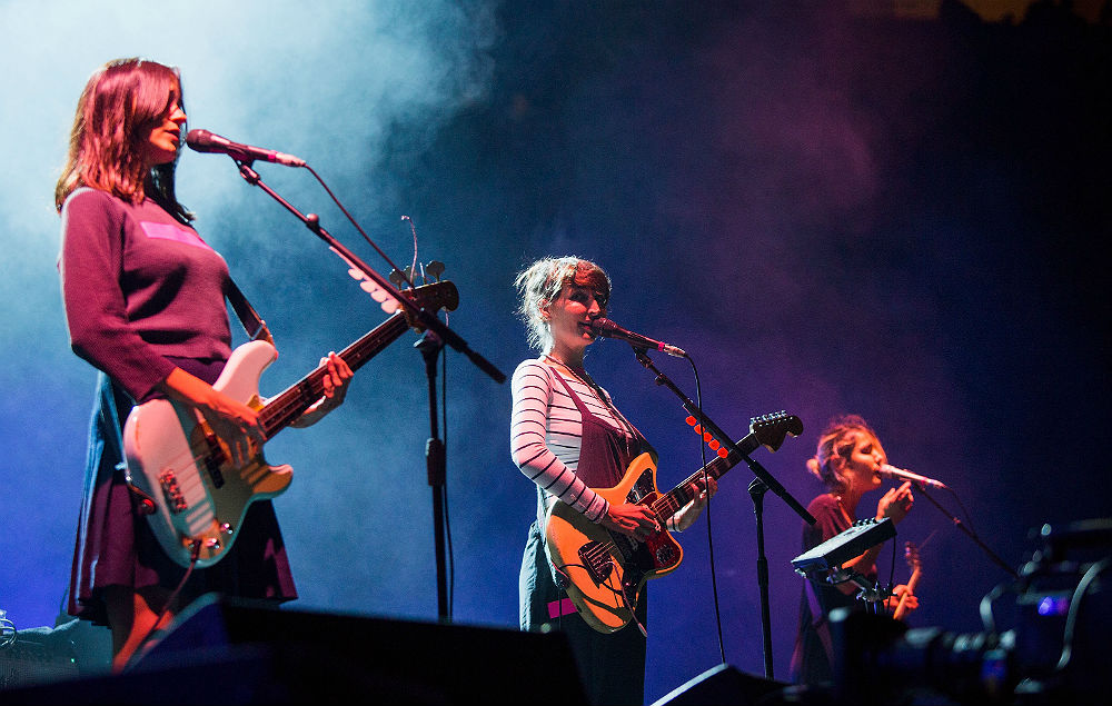 Theresa Wayman on stage with Warpaint
