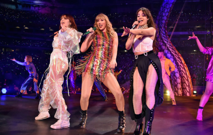 Charli XCX, Taylor Swift and Camila Cabello perform onstage during opening night of Taylor Swift's 2018 reputation Stadium Tour