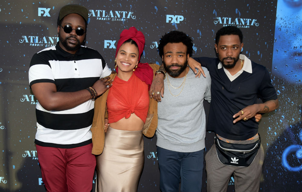 NORTH HOLLYWOOD, CA - JUNE 08: (L-R) Actors Brian Tyree Henry, Zazie Beetz, Donald Glover and Lakeith Stanfield arrive at FX's 'Atlanta Robbin' Season' FYC Event at the Saban Media Center on June 8, 2018 in North Hollywood, California