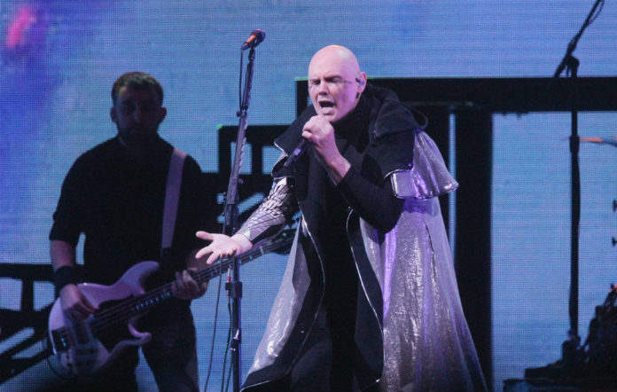 Billy Corgan of The Smashing Pumpkins performs during the opening night of their 'Shiny And Oh So Bright' world tour at Gila River Arena on July 12, 2018 in Glendale, Arizona