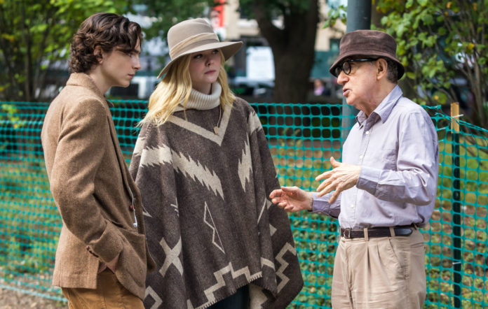 Timothée Chalamet, Elle Fanning and Woody Allen on the set of 'A Rainy Day in New York'