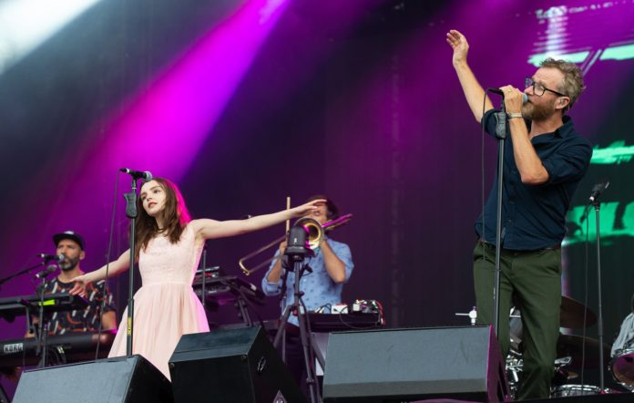 Lauren Mayberry of Chvrches and Matt Berninger of The National perform at the ACL Music Festival