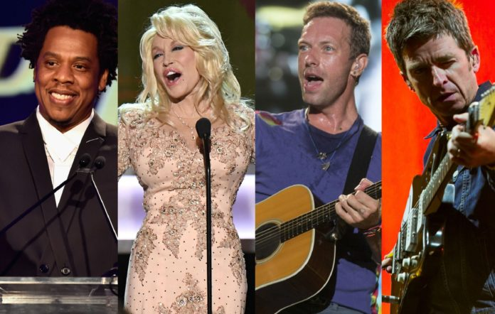Jay-Z, Dolly Parton, Chris Martin and Noel Gallagher