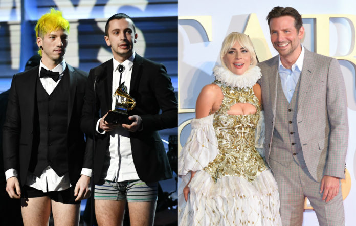 Twenty One Pilots, Lady Gaga, and Bradley Cooper
