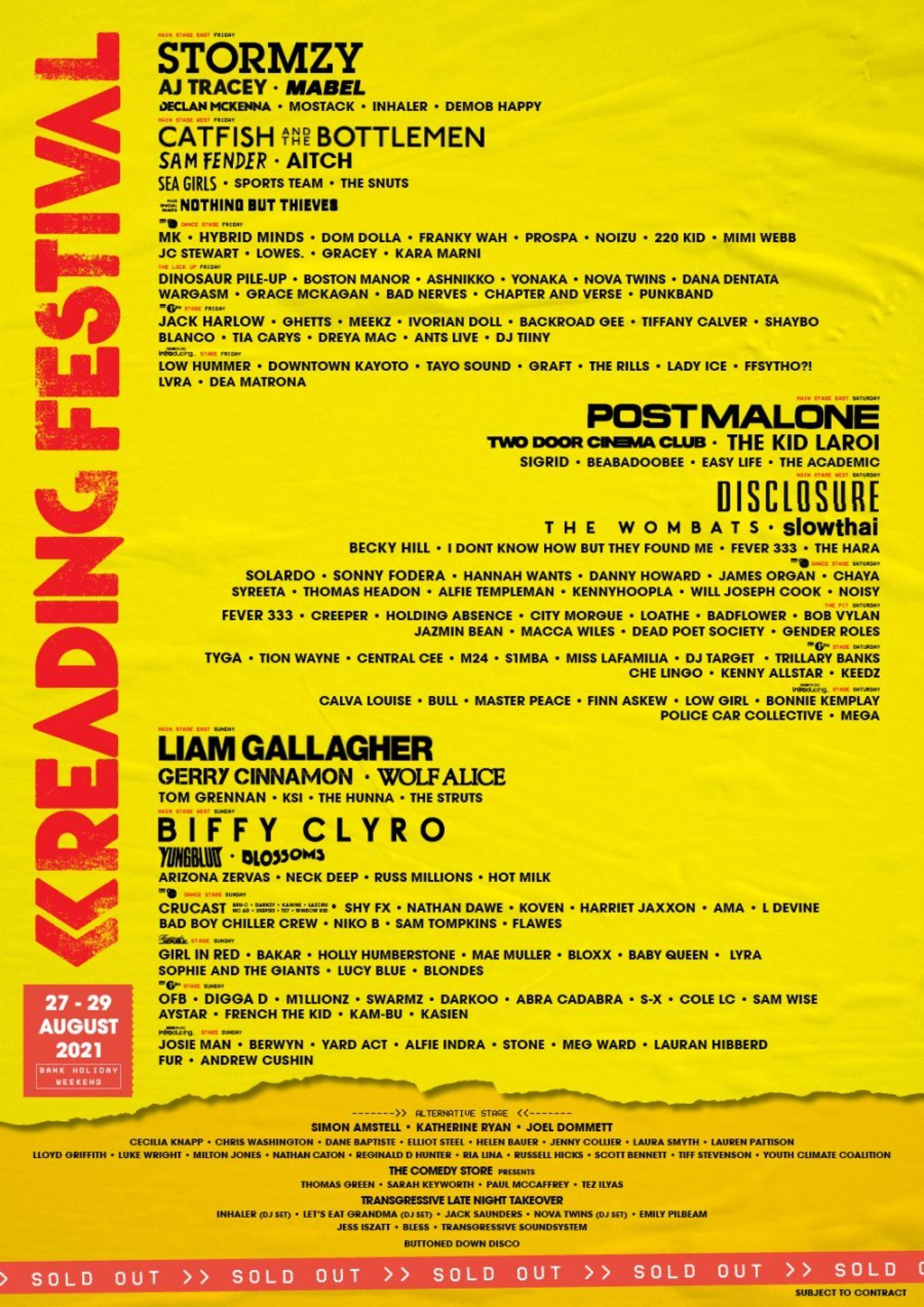 Reading & Leeds 2021 line-up and poster