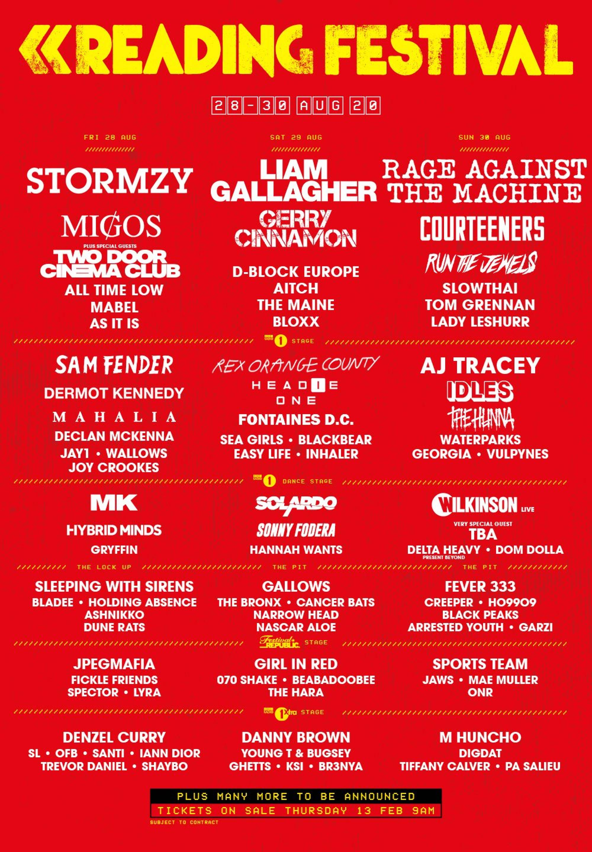 The line-up poster for Reading & Leeds 2020