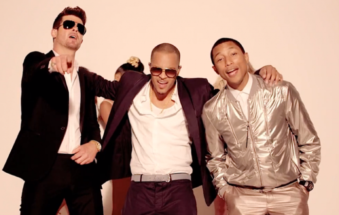 Robin Thicke, T.I. and Pharrell Williams in the 'Blurred Lines' video