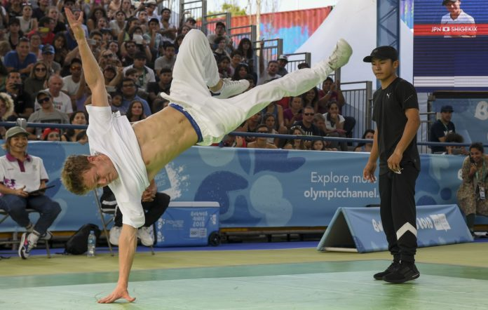 Russia's b-boy Bumblebee competes against Japan's b-boy Shigelix during a battle at the Youth Olympic Games in Buenos Aires, Argentina in 2018