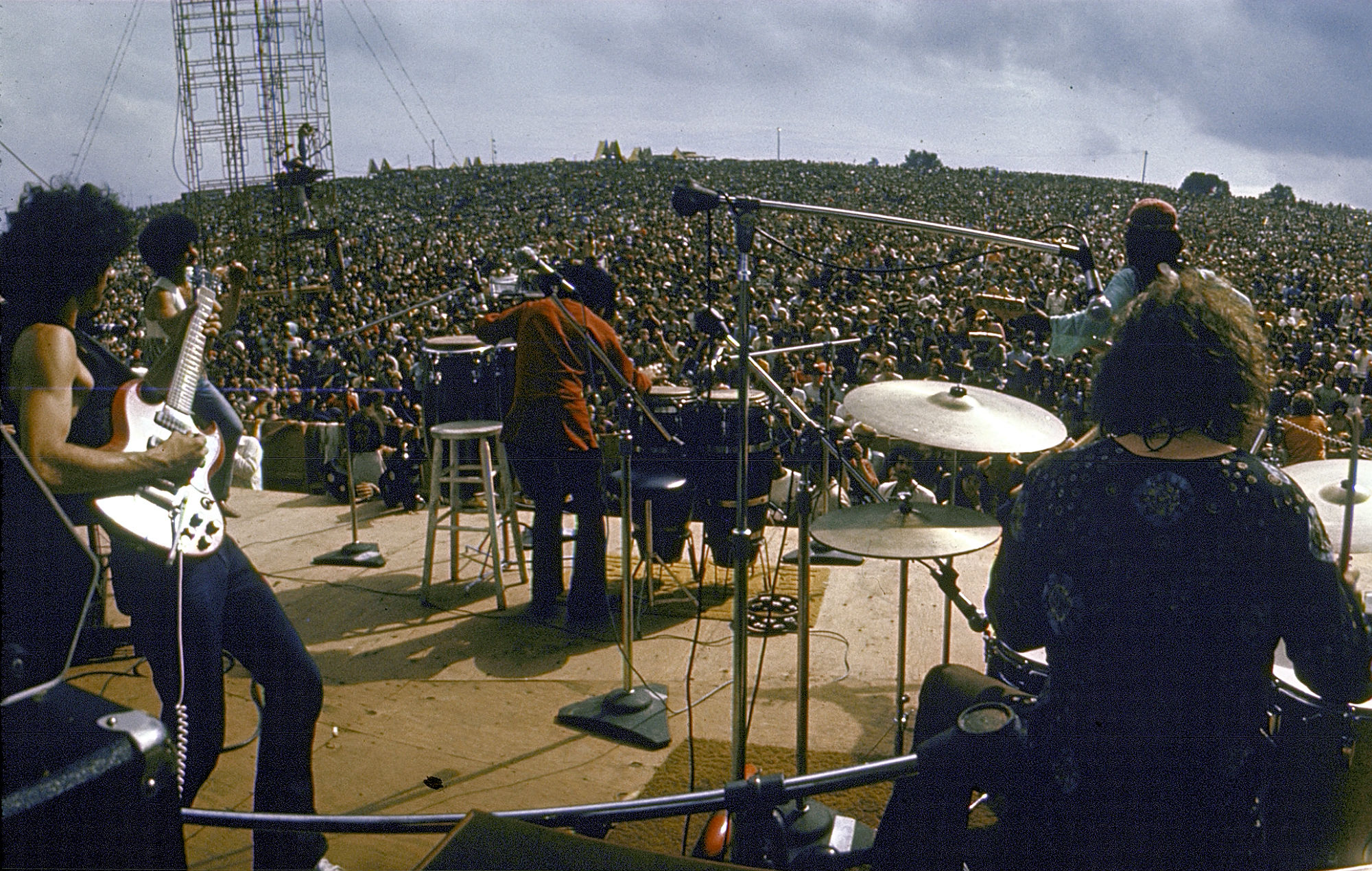 Santana on stage at Woodstock 1969