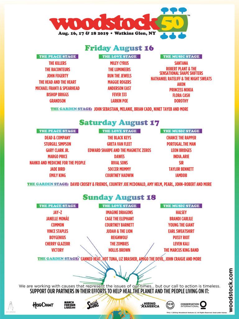 Woodstock 50 line-up poster