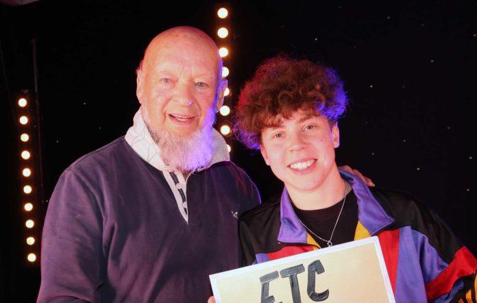 Last year's Glastonbury Emerging Talent winner Marie White and Michael Eavis
