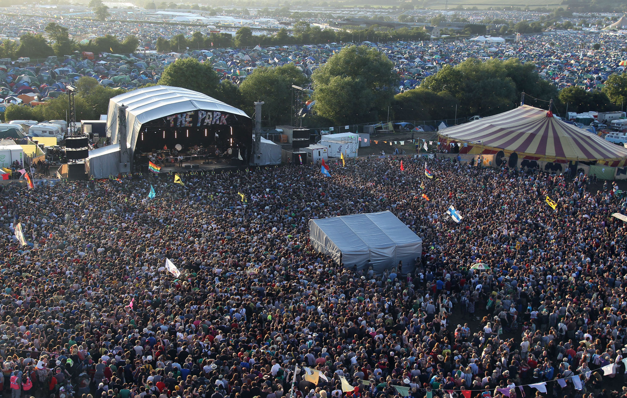 The crowd at the Park Stage for Pulp's secret Glastonbury set, 2011