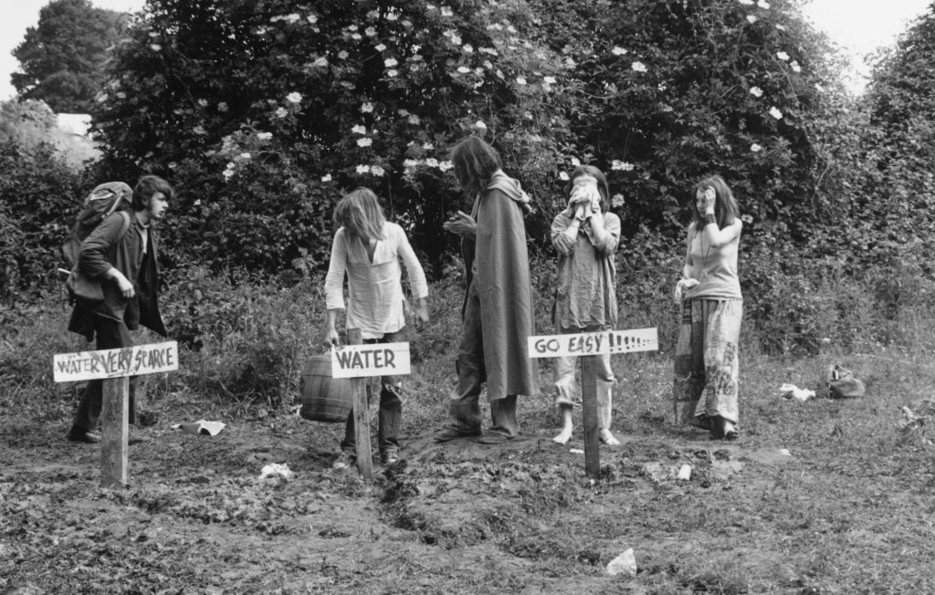 Festival-goers at the 1971 edition of Glastonbury