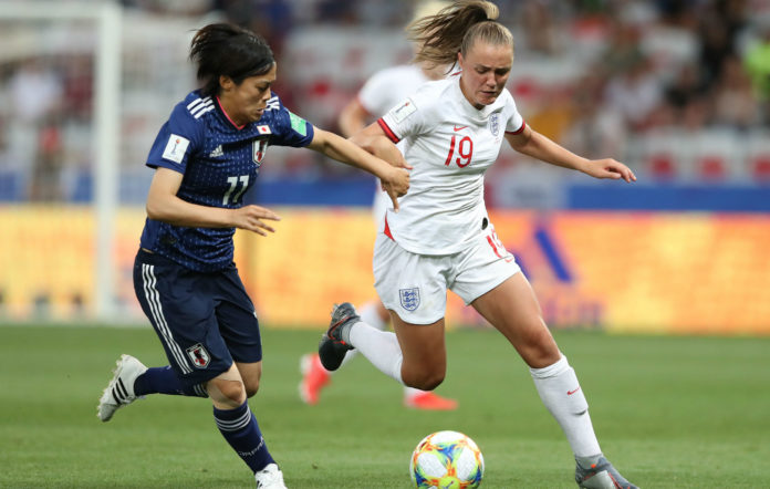Georgia Stanway of England battles for possession with Rikako Kobayashi of Japan during the 2019 FIFA Women's World Cup France group D match between Japan and England at Stade de Nice on June 19, 2019 in Nice, France