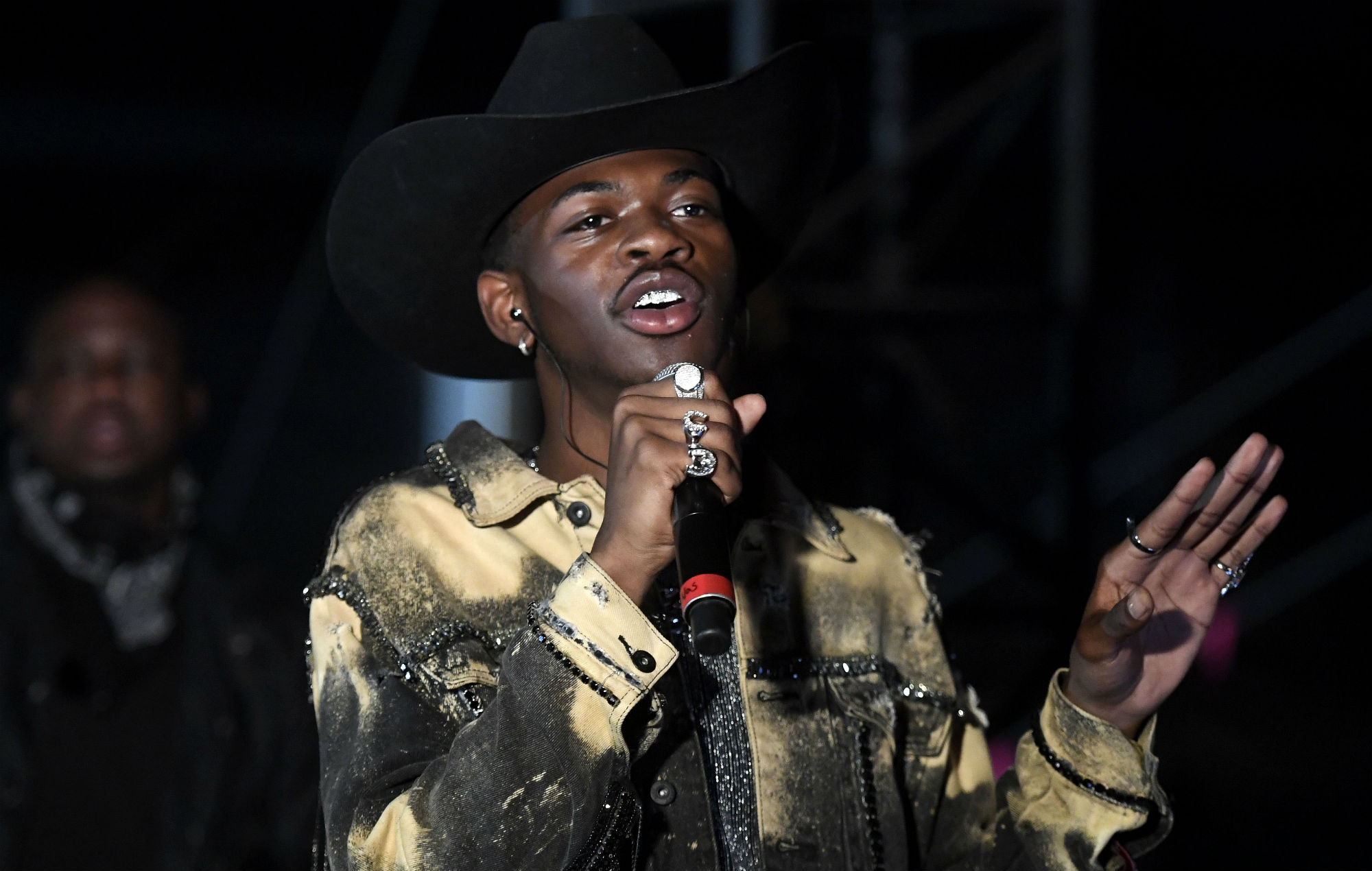 Lil Nas X is interviewed backstage during the 2019 Stagecoach Festival at Empire Polo Field
