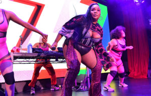 Lizzo performs onstage during American Express' NYC Pride Kickoff Event on June 26, 2019 in New York City