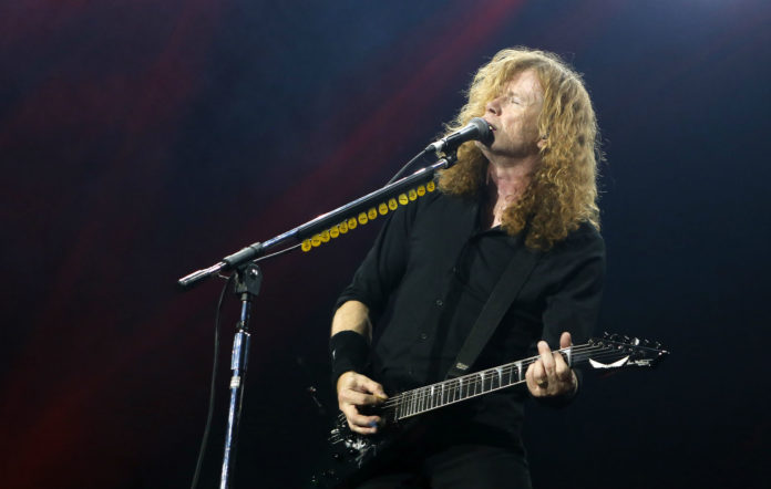 Dave Mustaine of Megadeth performs during the Stone Free Festival at The O2 Arena on June 16, 2018 in London, England