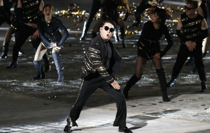 PSY performs during the 70th anniversary of Armed Forces Day at the War Memorial on October 1, 2018 in Seoul, South Korea