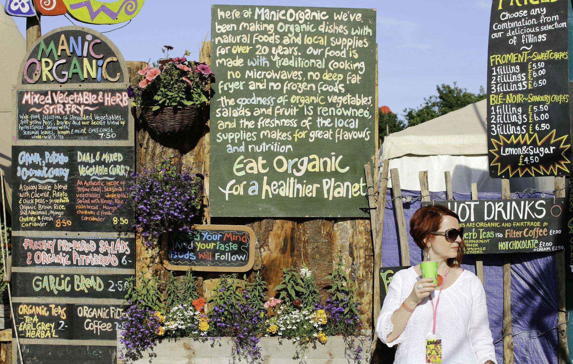 Vegan food stall, Glastonbury