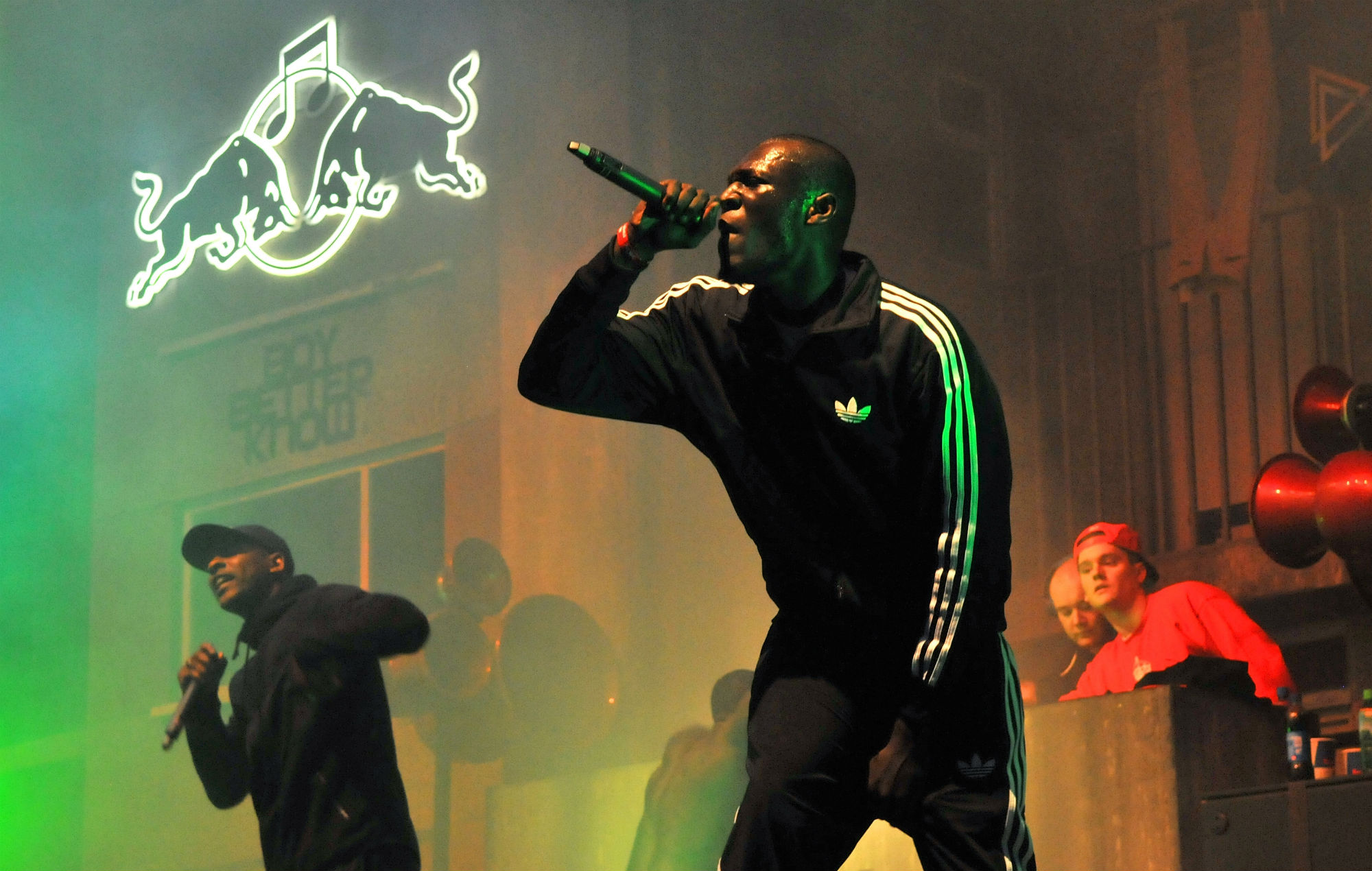 Stormzy and Boy Better Know perform on stage at Red Bull Culture Clash at Earls Court on October 30, 2014 in London, England