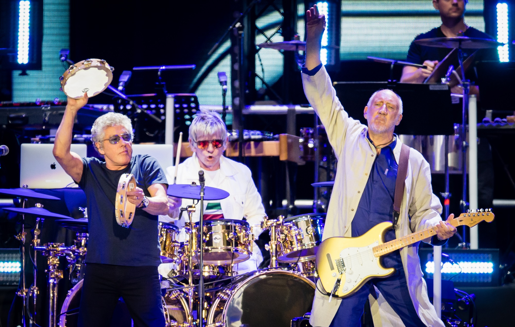 Roger Daltrey and Pete Townshend of The Who perform live on stage at Wembley Stadium