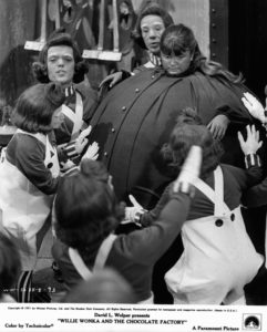Denise Nickerson blows up like a blueberry in a scene from the film 'Willy Wonka & the Chocolate Factory', 1971