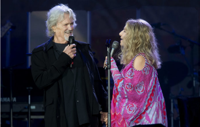Barbra Streisand performs with Kris Kristofferson during Barclaycard Presents British Summer Time Hyde Park