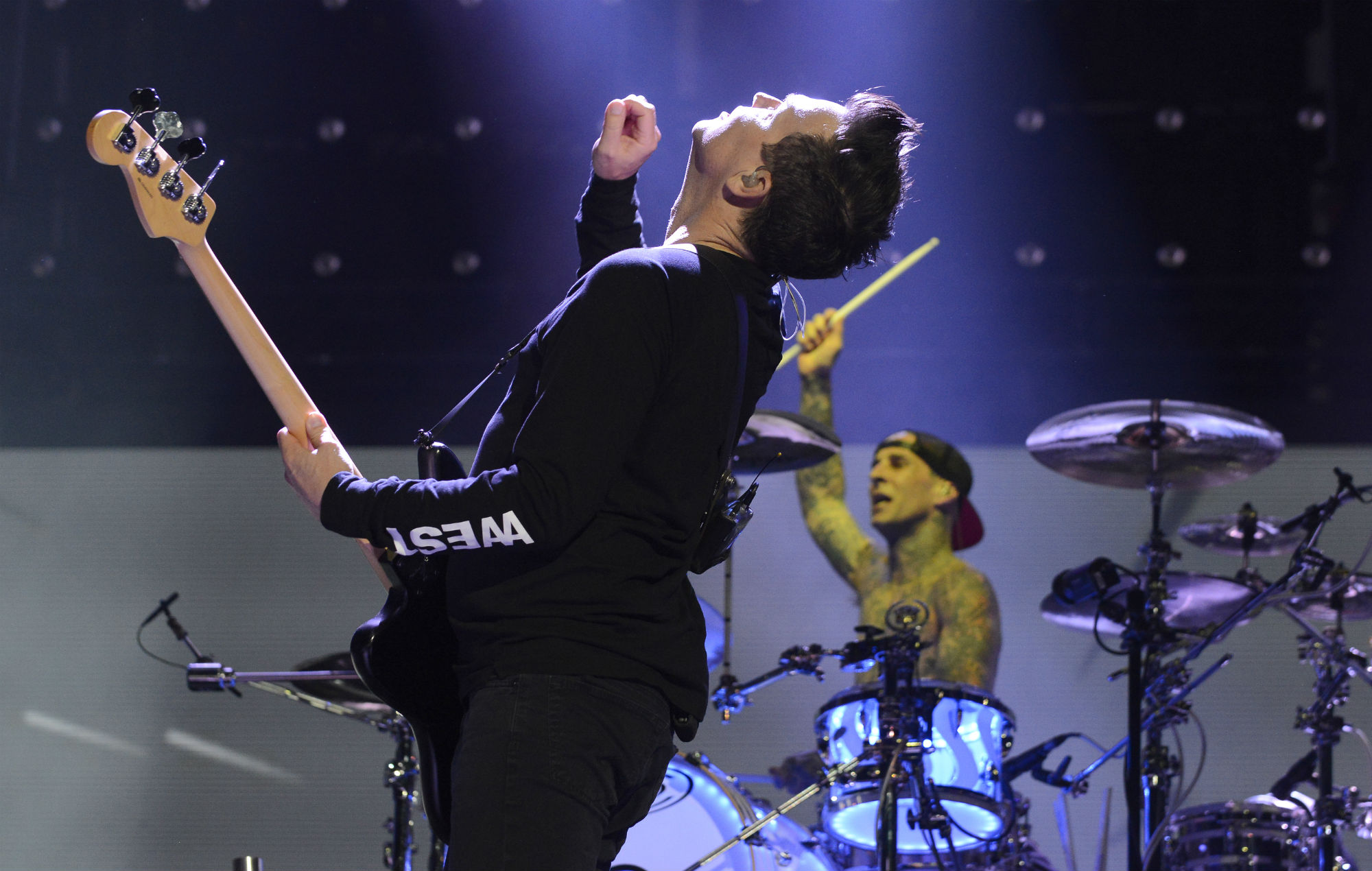 Mark Hoppus (L) and Travis Barker of Blink 182 perform during Lollapalooza 2017 at Grant Park on August 4, 2017 in Chicago, Illinois