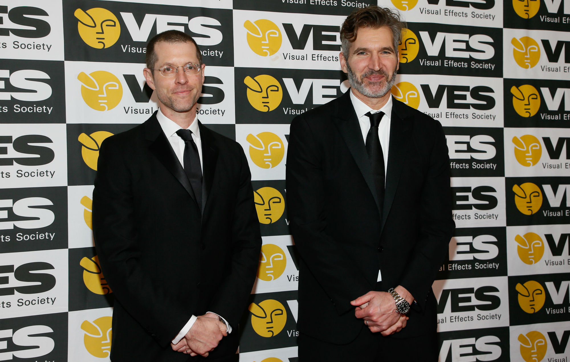 David Benioff, left, and D.B. Weiss, of Game of Thrones and the Creative Excellence Award recipients pose at the 17th annual VES Awards at the Beverly Hilton Hotel on Tuesday, February 5, 2019 in Beverly Hills, California