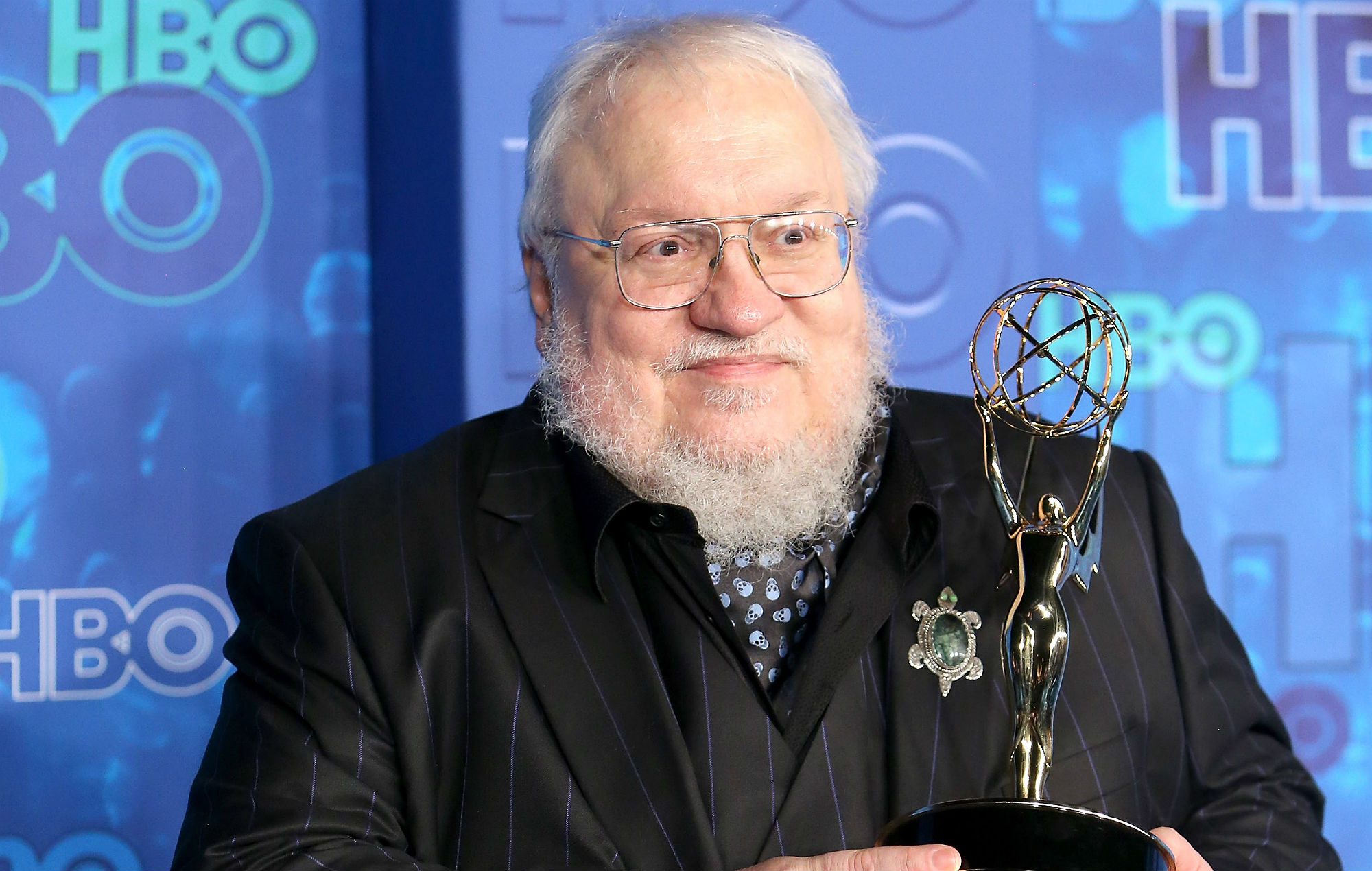 George R. R. Martin arrives at HBO's Post Emmy Awards reception held at The Plaza at the Pacific Design Center on September 18, 2016 in Los Angeles, California