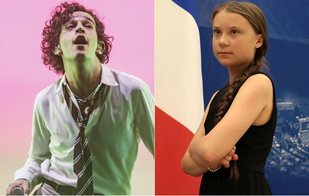 Matt Healy and Greta Thunberg
