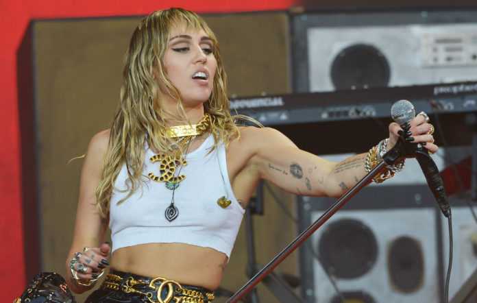 Miley Cyrus performs live on the Pyramid stage during day five of Glastonbury Festival at Worthy Farm, Pilton on June 30, 2019