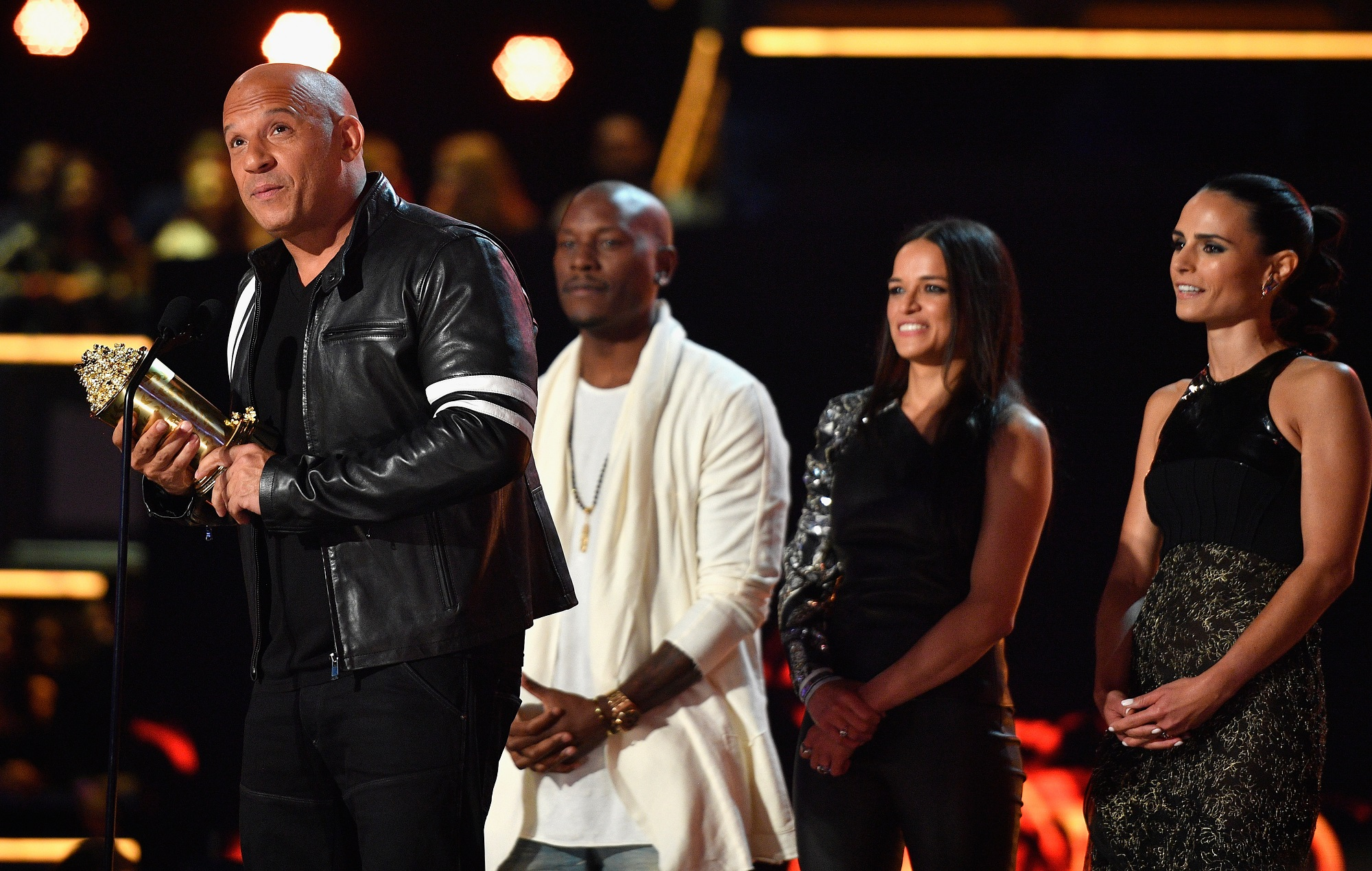 Fast & Furious actors Vin Diesel, Tyrese Gibson, Michelle Rodriguez and Jordana Brewster