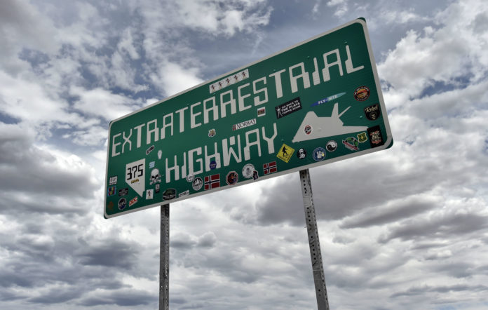 An Extraterrestrial Highway sign is posted along state route 375 on July 22, 2019 in Rachel, Nevada